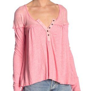 We the Free Down Under Raw Hem Flowy Henley Top